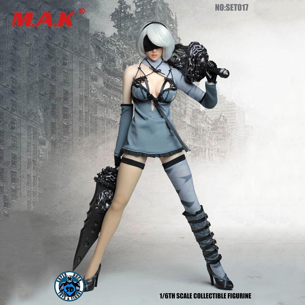 Avec tête SET017 Cosplay 1/6 Nil mécanique époque Robot Ulha AUTOMATA2B vêtements ensembles pour 12