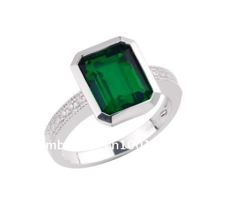 Free shipping,High quality 925 Silver gemstone ring with  Emerald Essence ,Best gift for May Birthday Girl,wholesale & retail