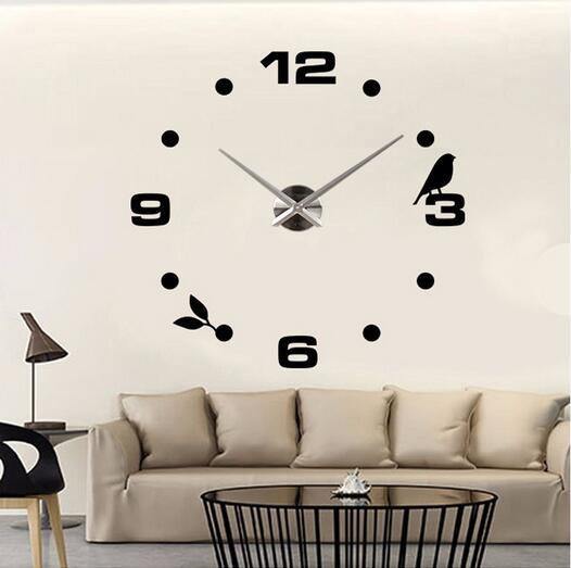 2016 Nueva Venta caliente reloj Adhesivos de pared Relojes de pared  decoración del hogar moderno cuarzo 3D acrílico espejo metal fa31ca00568b4