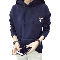 Women Hoodies Sweatshirts 2016 Autumn Deer Embroidery Cashmere Thick Pullover Tops Big Pockets Hooded Hoodie Plus