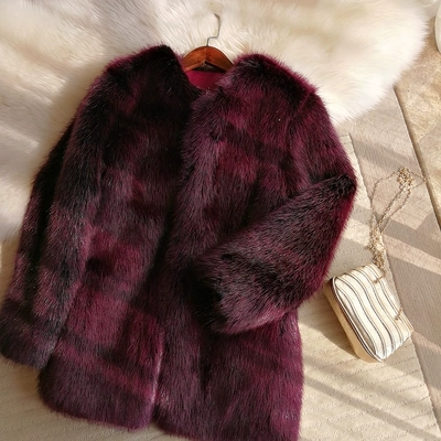 2018 New Style High end Fashion Women Faux Fur Coat S48 in Faux Fur from Women 39 s Clothing
