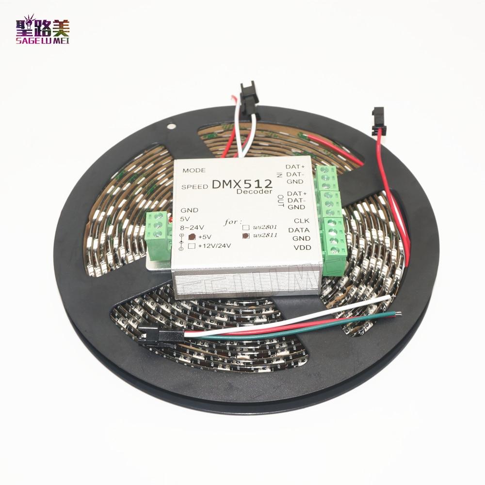 DC5V WS2812B IP65 étanche 60 Pixels/m 5050SMD RGB adressable individuellement bande numérique LED et contrôleur DMX 5 m/roll