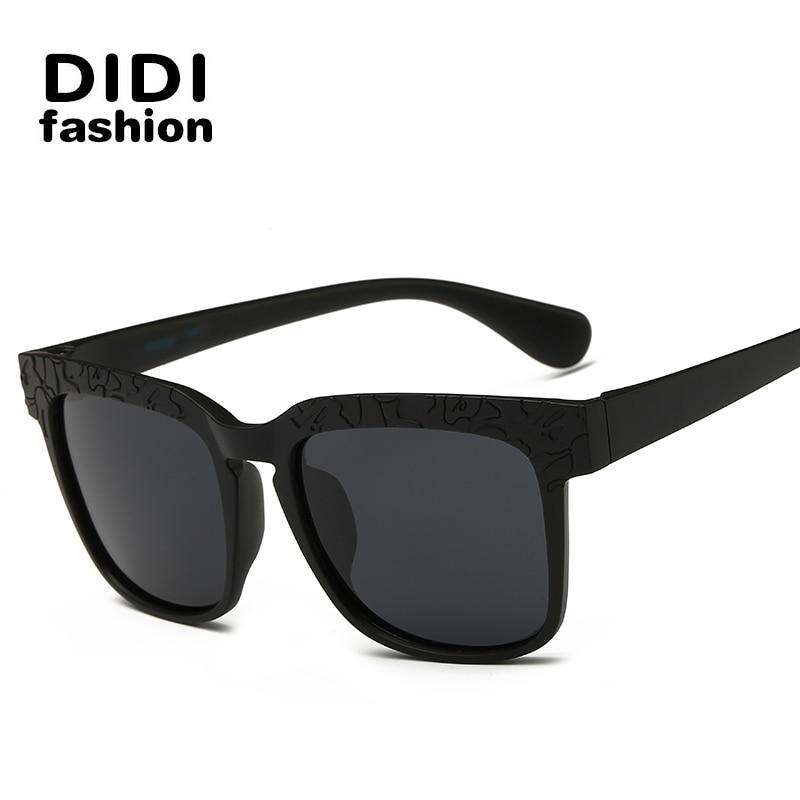 DIDI Black Fram Oculos De Sol Vintage Dark Stripe lens 100% Polaroid Sunglasses Men Women Brand Designer Gafas H003