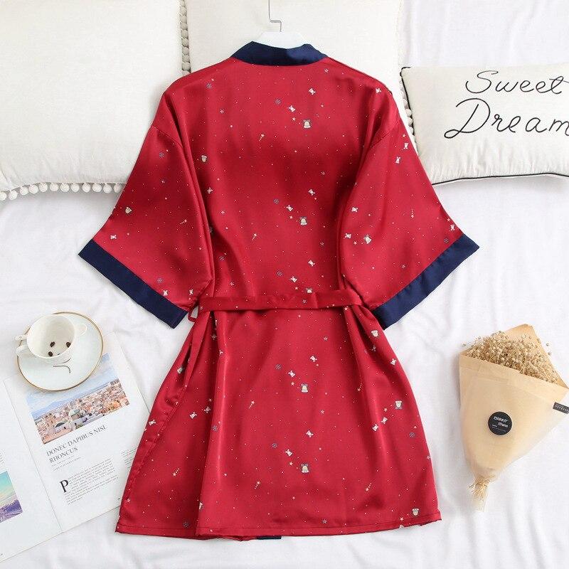 ed2b7071a2d Satin Women Robes Silk Short Night Kimono Sexy Bathrobe Red Bride  Bridesmaid Robe Fashion Dressing Gown Ladies Underwear 2019