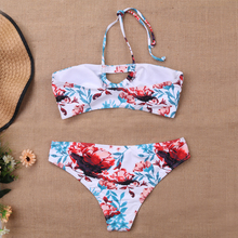 Summer New Bikini Suit White Print Sexy Low Waist Bra Double Swimsuit Beachwear Push-Ups Hanging Neck Sweet Bathing Su
