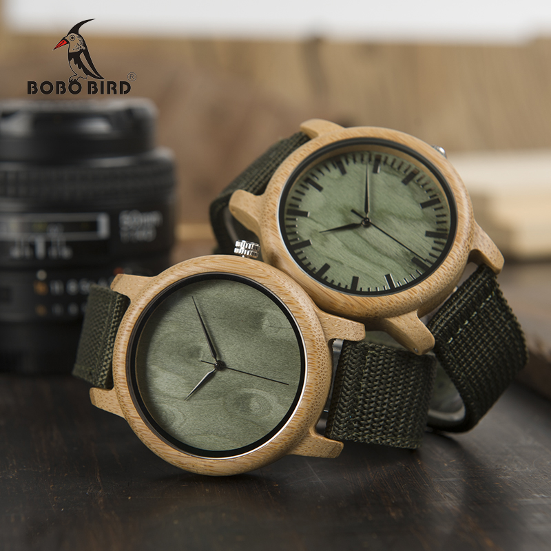 BOBO BIRD WD11D12 Wood Bamboo Watch for Mens Womens Brand Designer Watches Soft Nylon Band Carton