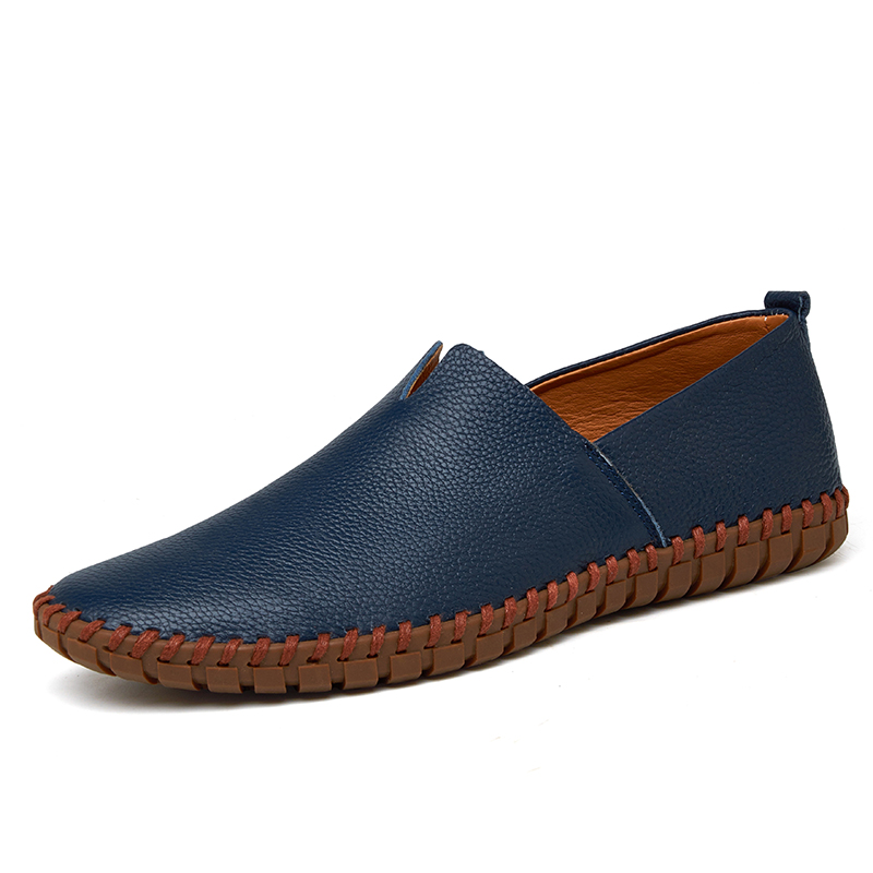 Genuine Cow Leather Mens Loafers Fashion Handmade Moccasins Soft Leather Blue Slip on Men's Boot Shoe PLUS SIZE 38 ~ 50