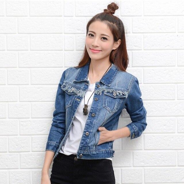 dd456a1e5f Uwback Woman Denim Jacket 2017 New Brand Jeans Jacket Women Slim Plus Size  Washed Vintage Spring Women Basic Coats TB1404