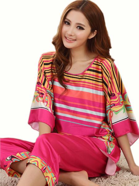 Verano Sexy Pijama de Seda Establece Mujeres Batwing Mangas Rayas Pijamas Camisones de Dormir Salón Informal Más Tamaño Rojo de la Rosa