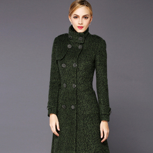 2016 New Fashion Winter Women's Wool Coat Solid Color Stand Collar Long Overcoat Slim Thickening Cashmere Coat Female Outwear