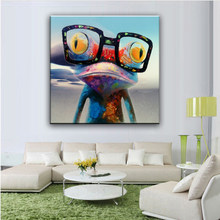 100% hand painted Cartoon Oil Painting on Canvas Abstract Animal Wall Art for Home Decoration Happy Frog pictures DM91801182(China)