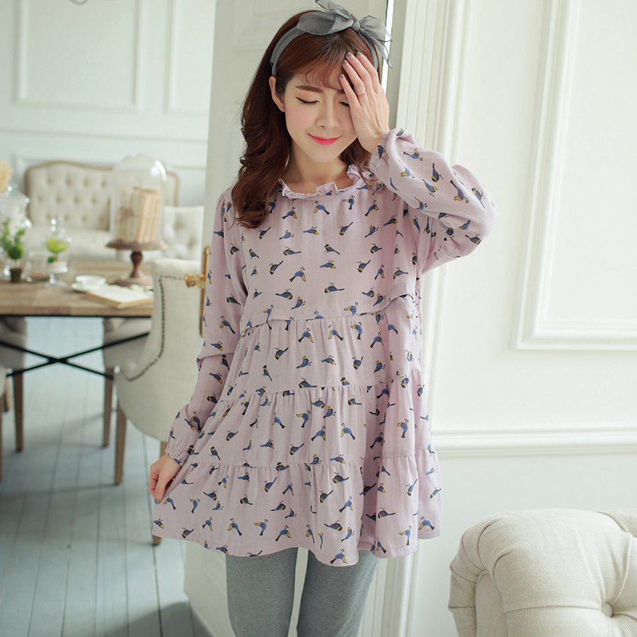 ФОТО Maternity Pregnant Clothing Long Sleeve Nursing Clothes For Pregnant Women Soft Cotton Maternity Nightgown Nursing 60M0054