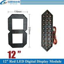 """4 unids/lote 12 """"de Color rojo al aire libre 7 LED de siete segmentos número Digital módulo para Precio de Gas Módulo de pantalla LED"""