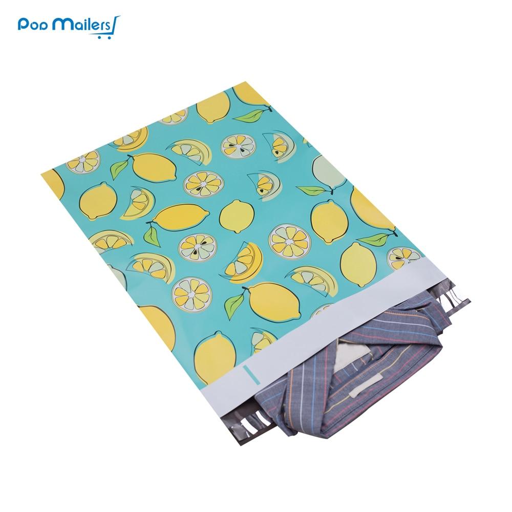 100pcs 25.5x33cm 10x13 inch lemon fruit pattern Poly Mailers Self Seal Plastic Envelope Bags 100pcs fishing lures bag ziplock 11cm 13cm self seal zipper plastic retail packing poly bag ziplock zip lock bag package