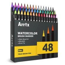 Arrtx canetas marcadoras, 24/48 cores verdadeiras, escovas, marcador profissional, à base de água, laváveis e não tóxico, pontas de escova flexíveis para pintura