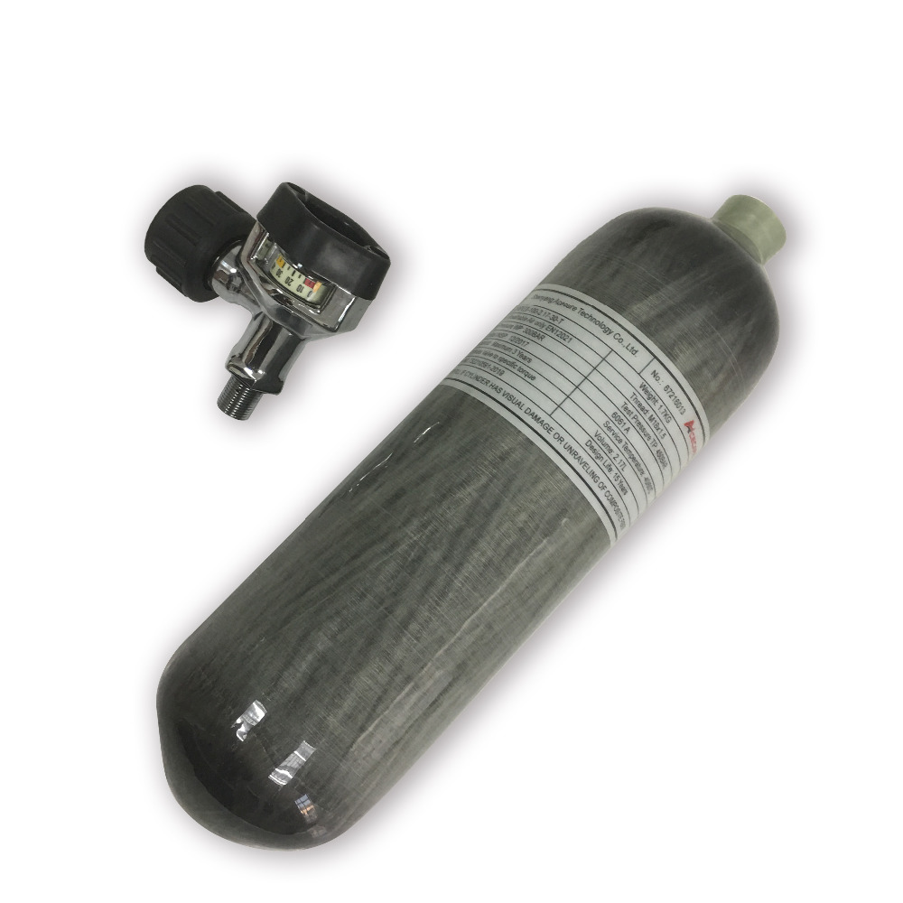AC1217 compressed air carbon fiber cylinder grip airsoft 2.17L 300bar with black valve for air gun rifle hand gun accessories-in Paintball Accessories from Sports & Entertainment