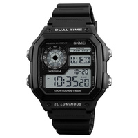 SKMEI Top Brand Luxury Digital Watch Men Double Time Countdown Waterproof Outdoor Sports Watches LED Fashion