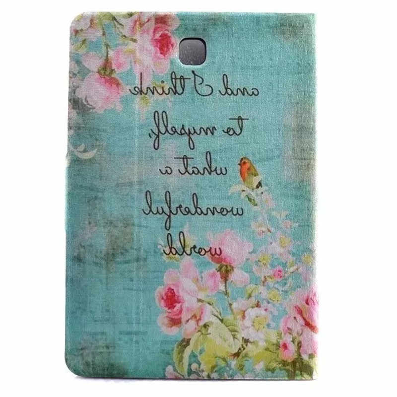 Cute Cartoon Colorful Butterfly Menara Berdiri Sandal Kulit Funda Case untuk Samsung Galaxy Tab S2 8.0 T710 SM-T715 T715 Tablet cover
