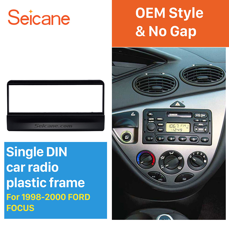 Seicane OEM Style 1Din Car Radio DVD Stereo Fascia For 1998 1999 2000 Ford Focus Frame Panel Install In Dash Mount Kit No Gap