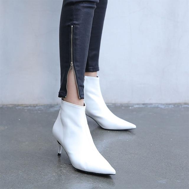 2018 sonbahar ve kış yeni stil İnce sivri yüksek topuklu Martin çizmeler beyaz çizmeler deri çizmeler bayan botları bahar wedgie