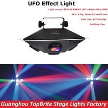 Freies Verschiffen 1 Teile/los LED UFO Bühneneffekt Lichter Hohe Helligkeit 94 Watt RGBWY Farben Professionelle Bühnenlicht Mit 3 DMX Kanäle