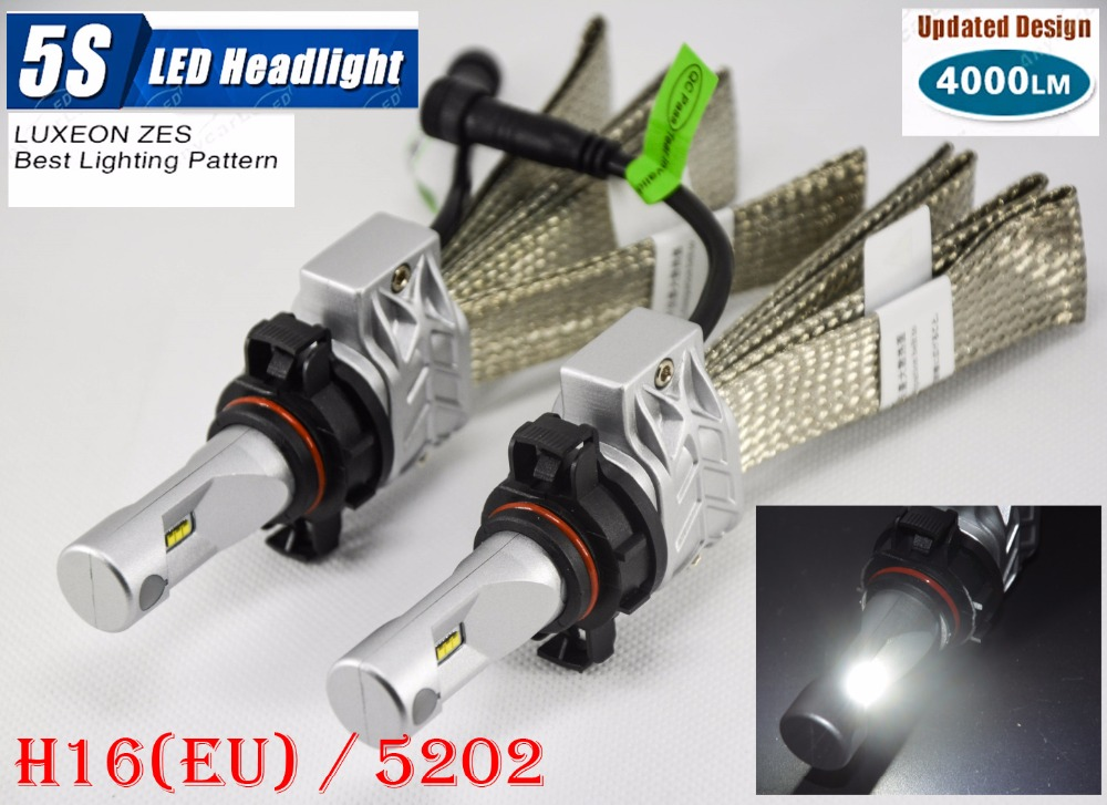 1 Set H16(EU) 5202 50W 4000LM 5S LED Headlight Kit LUMILED LUXEON ZES 12LED SMD Chip Fanless 6500K Driving Fog Lamp Bulb HID Hal 1 set 9012 hir2 50w 4000lm 5s led headlight kit lumiled luxeon zes 12led smd chip fanless 6500k driving fog lamp bulb hid haloge