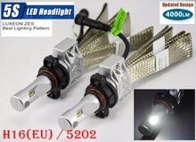 1 Set H16(EU) 5202 50W 4000LM 5S LED Headlight Kit LUMILED LUXEON ZES 12LED SMD Chip Fanless 6500K Driving Fog Lamp Bulb HID Hal