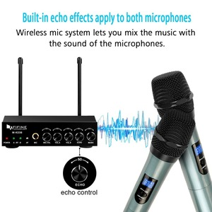 Image 2 - Fifine UHF Dual Channel Microphone System with two Wireless Handheld Microphone for Family KTV Bar Part Small Outdoor Stage K036