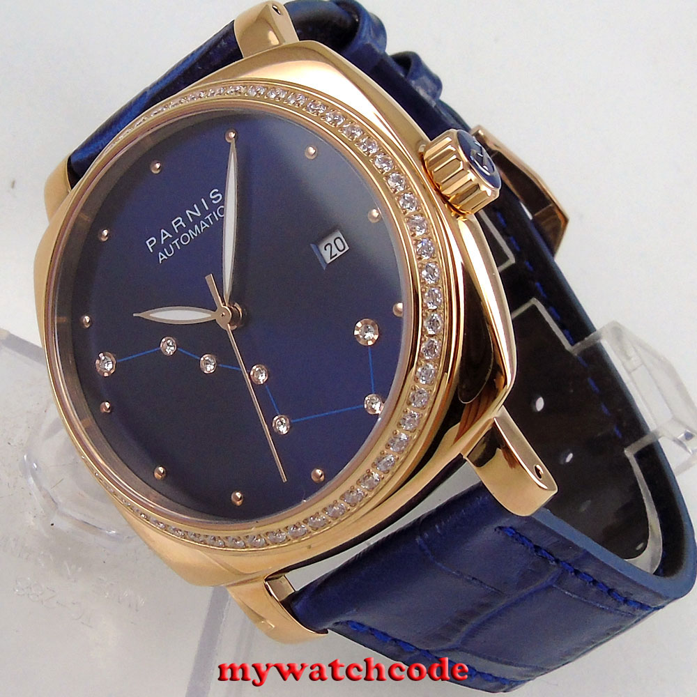 39mm Parnis blue dial diamond rose golden case Sapphire glass miyota automatic mens watch 38mm parnis golden dial sapphire glass miyota automatic mens watch