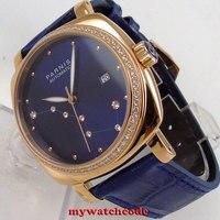 39mm Parnis blue dial diamond rose golden case Sapphire glass miyota automatic mens watch