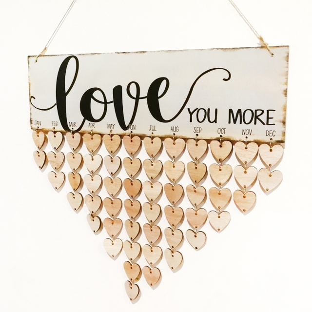 Creative Wooden Love Heart Disc Colorful Hanging Calendar DIY Handmade Home Wall  Decoration Mariage Craft Supplies
