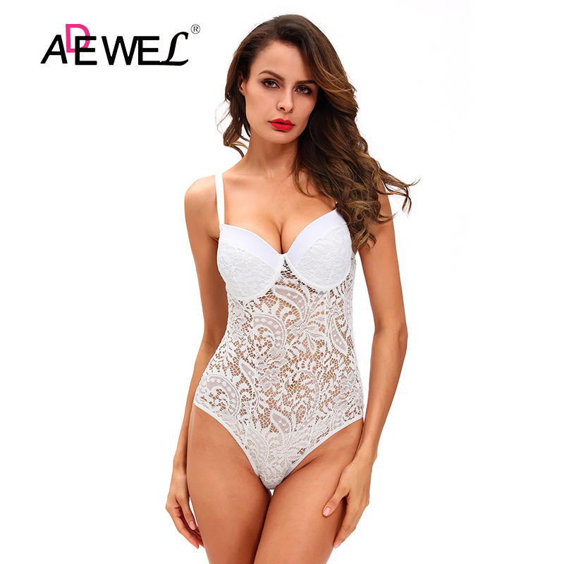ADEWEL Night Club Black White Sexy Lace Bodysuit Women Summer Hollow Out Skinny Bodysuits Combinaison Shorts Party Femme Romper