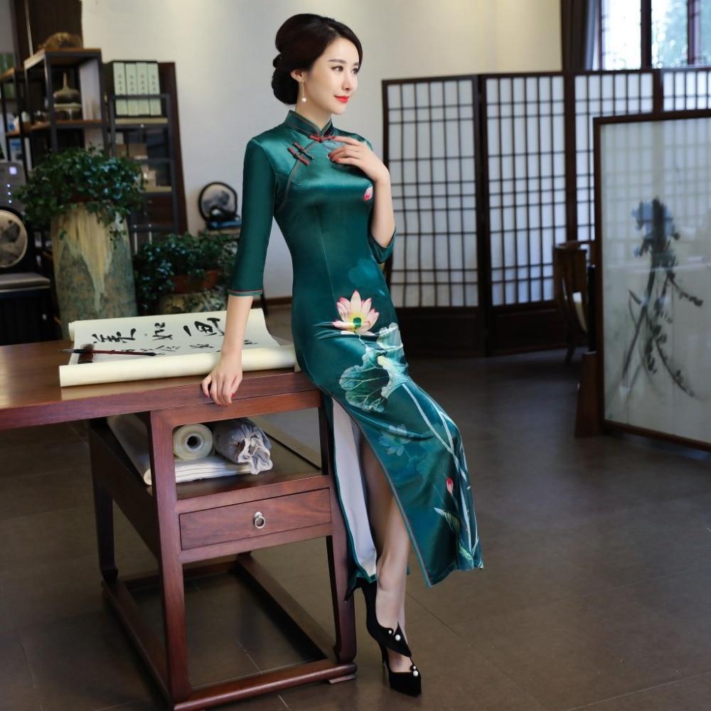 Sexy Taille Mandarin 3 10 2 Nouveau Mince 1 Élégant 8 9 M Robe Fleur 3xl Col Chinois 4 Traditionnel 13 11 12 Imprimer 7 Femelle Cheongsam 6 16 14 15 5 Velours Qipao Femmes qRRxpZX