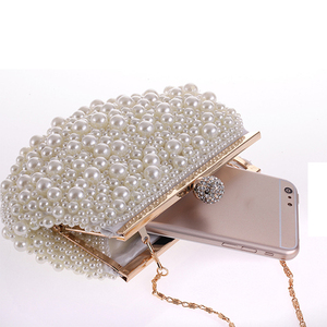 Image 3 - Evening Wedding Clutch Handbag Pearl Bag Dress Dinner Bag Small Purse Bridesmaid Handbag White