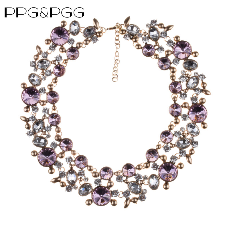 Fashion Crystal Large Collar Choker Necklace Women Faux Pearl Big Bib - Fashion Jewelry