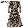KaigeNina Nova Moda Hot Sale Mulheres leopard vestido Casual Vestidos Plissados impressão praia sexy vestidos de verão 1807 #
