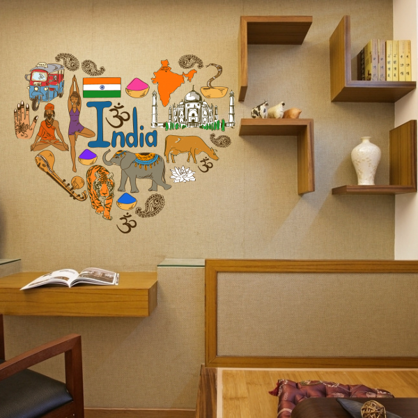 I love india illustration fashion wedding decor vinyl waterproof i love india illustration fashion wedding decor vinyl waterproof wall sticker bedroom wallpaper wall decal baby junglespirit Gallery