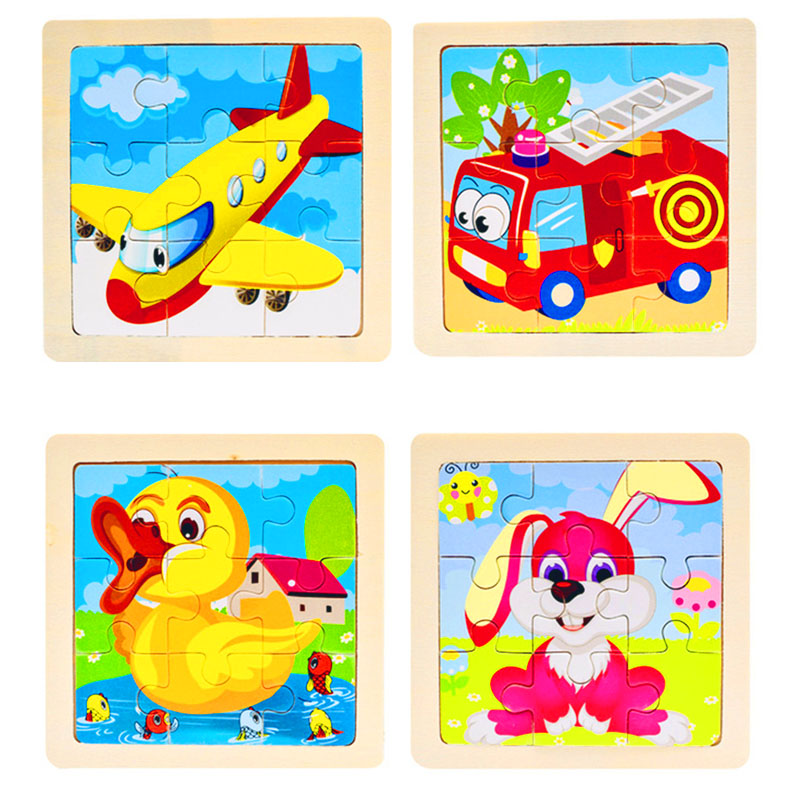 Montessori Wooden 3D Puzzle Jigsaw For Children Baby Cartoon Animal/Traffic Puzzles Educational Toy For Girl Boy Gift 11*11CM