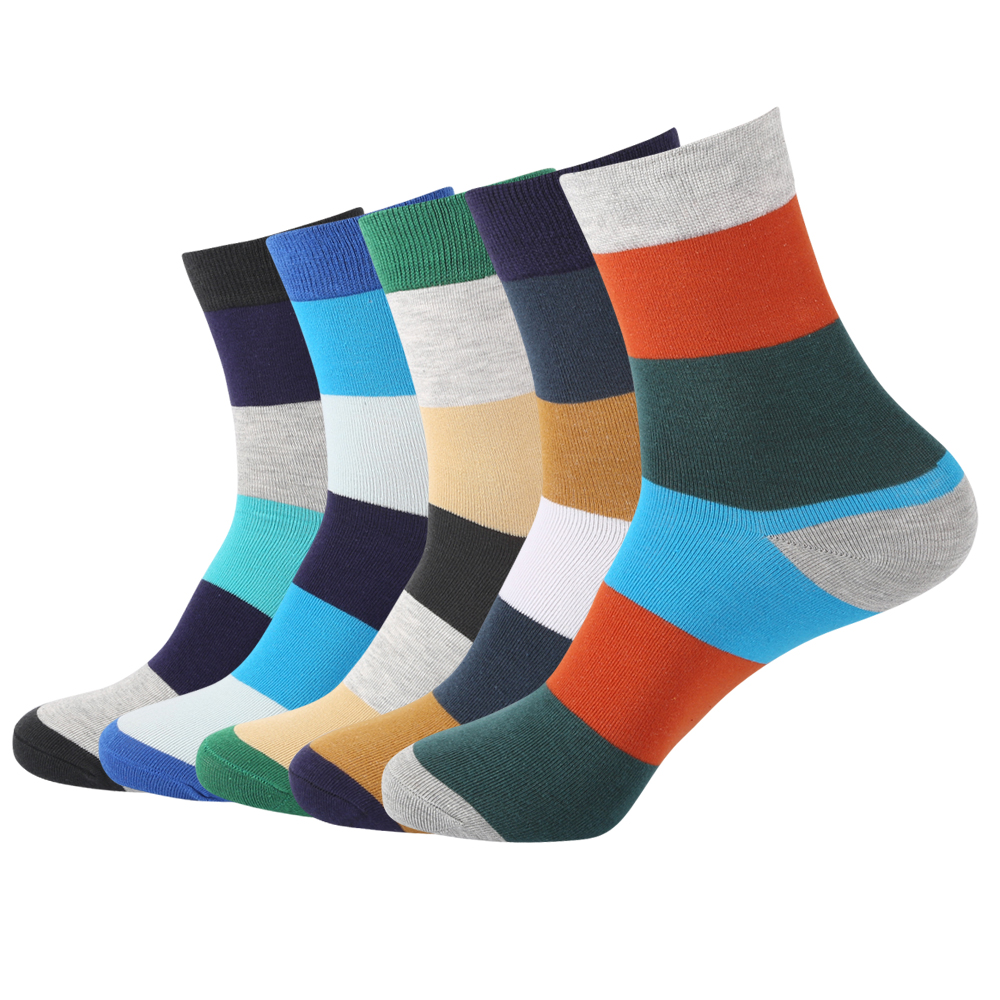 Fashion Casual Winter Antumn Contrast Colorful Stripes Cotton Socks Men 5 Pairs High quality Mens Crew Socks Long Socks
