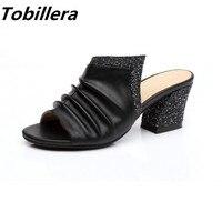 Summer Elegant Gold Sliver Black Women Glitter 5cm Heels Slippers Wrinkle Genuine Leather Upper Women Big