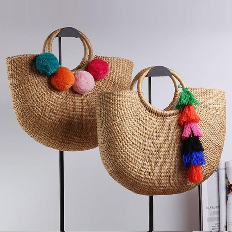 Женская плетеная Сумка-тоут, Пляжная соломенная сумка-мешок из ротанга с кисточками, лето 2020