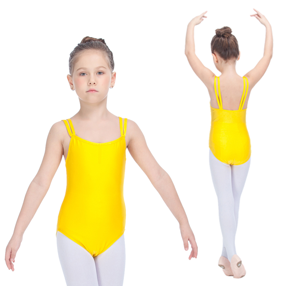 a5bf26a60 Ballet Kids Dancing Yellow Leotards Nylon Lycra Double Straps ...