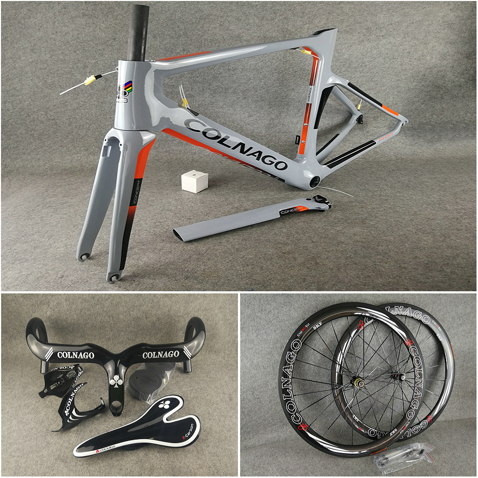 UD Glossy NJGO Grey Orange Colnago CONCEPT carbon road frames+Handlebar+Saddle+bottle cages 50mm carbon wheels Novatec A271 hubs(China)