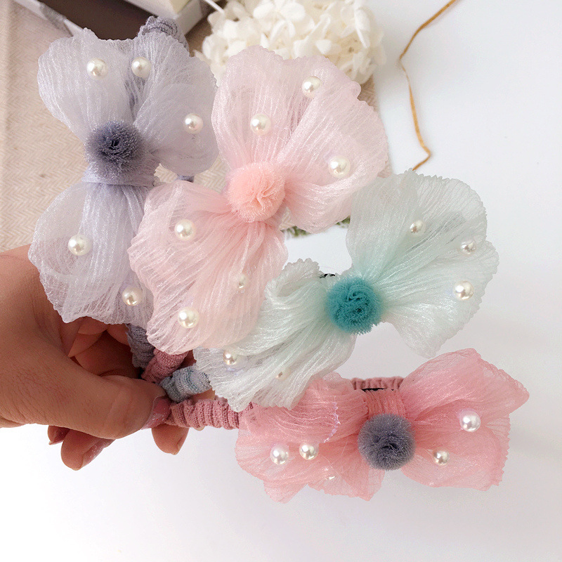 Korea Hair Accessories lovely Pearl Flower Crown Hair Band Cotton Headband For Girls Hair Bow Princess 4