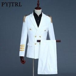 PYJTRL Gloednieuwe Wit Navy Blue Mens Captain Pakken Nieuwste Jas Broek Ontwerpen 2018 Mannen Bruidegom Pak Blazer Hombre slim Fit