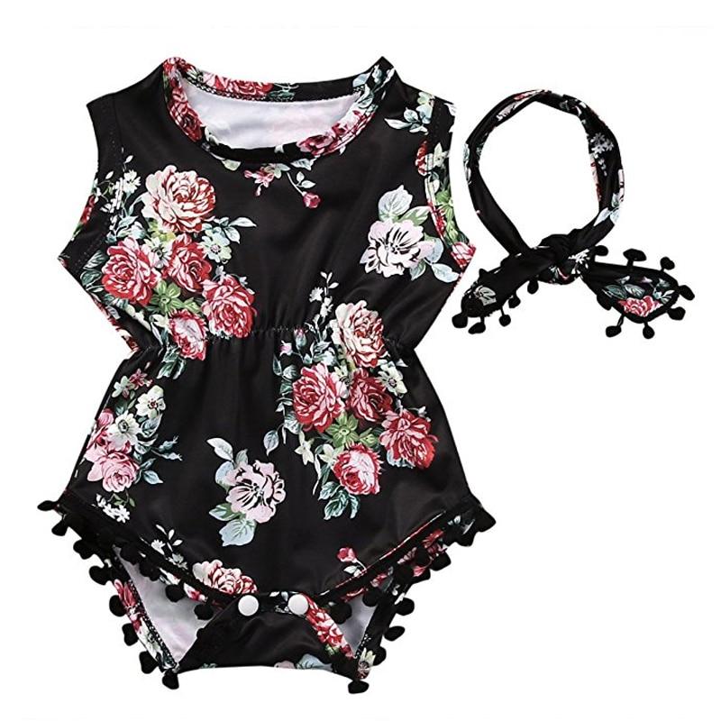 Blom Baby Romper & Headband, Toddler Nyfödda Baby Girls Floral - Babykläder