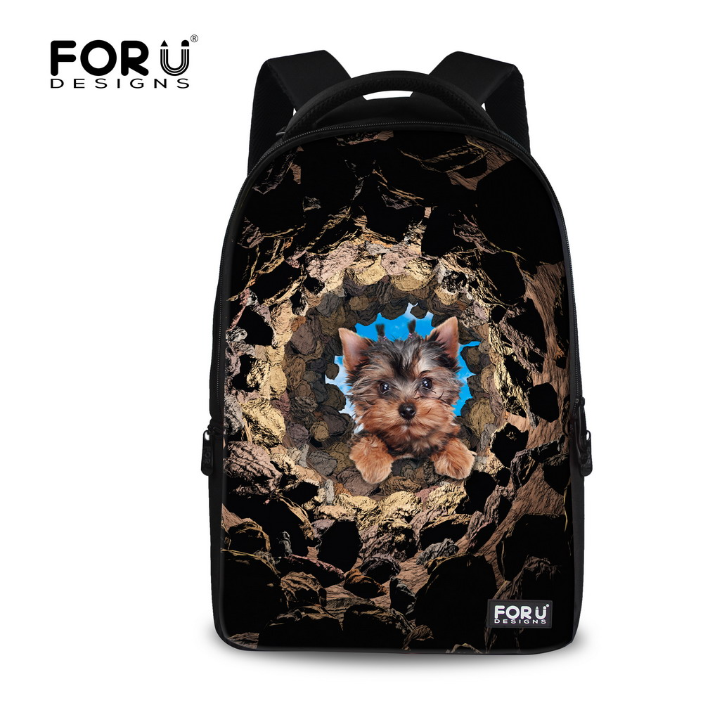 Brand 17 inch Boys School Backpack Animal Pet Dog Yorkshire Terrier Printing Backpack for Men Laptop Backbag Travel Bag Mochila brand coolbell for macbook pro 15 6 inch laptop business causal backpack travel bag school backpack