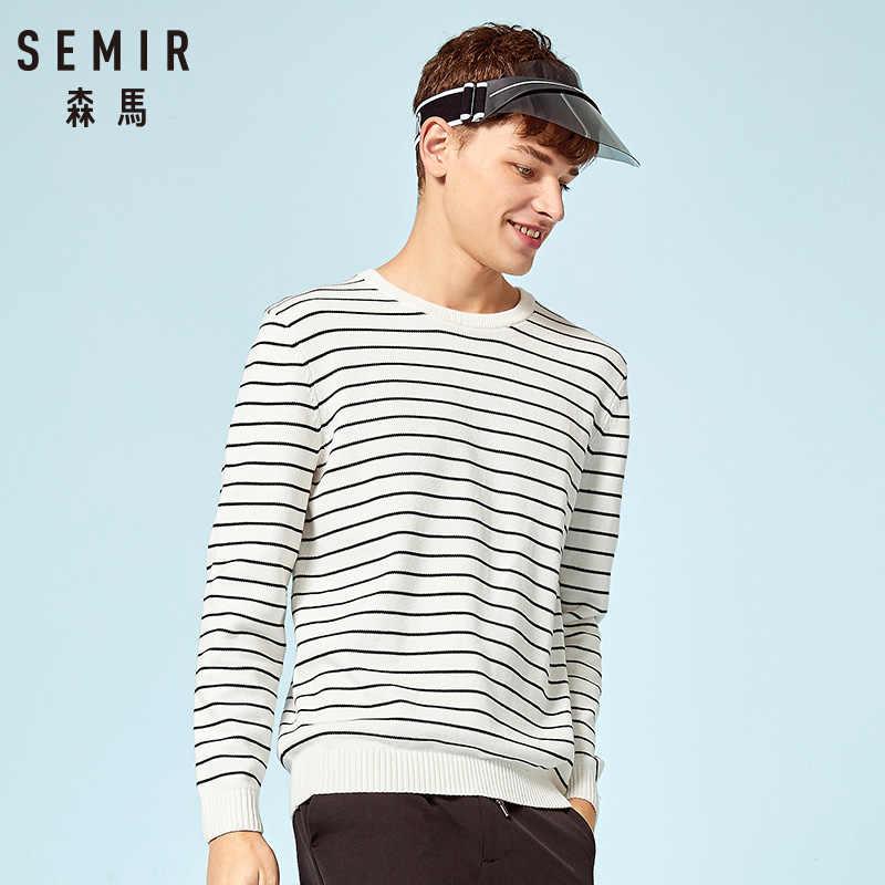 Semir 2019 Musim Gugur Sweater Pria Menarik Homme O Fit Ramping Stripe Pullover Putih Rajutan Sweter Plus Ukuran Pakaian Pria