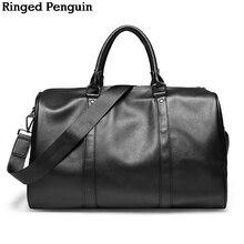 Bolsa de viaje de hombres de cuero de la manera del pingüino anillado Equipaje Bolsa de viaje Hombres llevan bolso de lona de cuero Bolsa de fin de semana Bolso grande