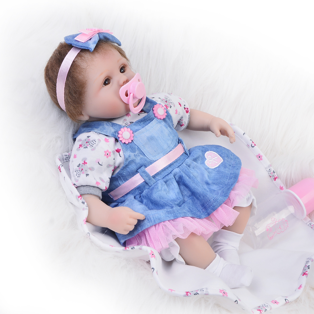 NPK New Arrival Cute 17 Inch Reborn Baby Dolls Toy With Blue Dress Realistic Girl Silicone Babies Doll Hug Real Kids Playmates